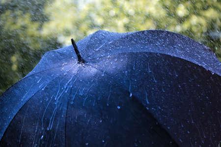 lluvia paraguas: Las gotas de lluvia que cae sobre un paraguas