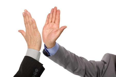 aplaudiendo: Choca esos cinco concepto de éxito, trabajo en equipo, Felicitar y celebración