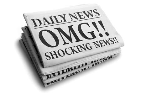 shocking: Daily news newspaper headline reading OMG shocking news concept for astonishing news
