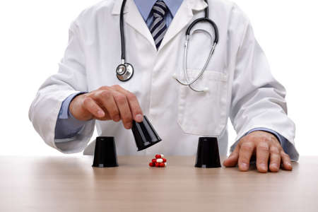 medical choice: Medical gambling and risk concept for chance, choice, healthcare insurance or postcode lottery in the UK