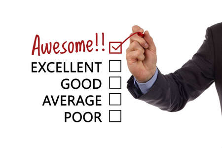 Tick placed in awesome checkbox on customer service satisfaction survey form photo