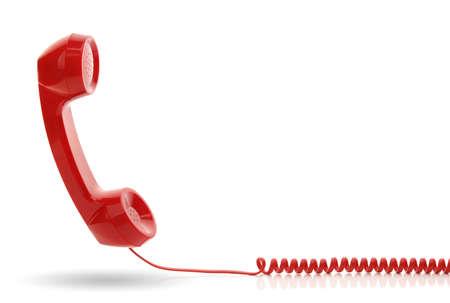 Rode ouderwetse telefoonhoorn die op een wit wordt geïsoleerd Stockfoto