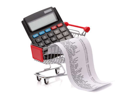 printing out: Shopping till receipt, calculator and cart concept for grocery expenses and consumerism