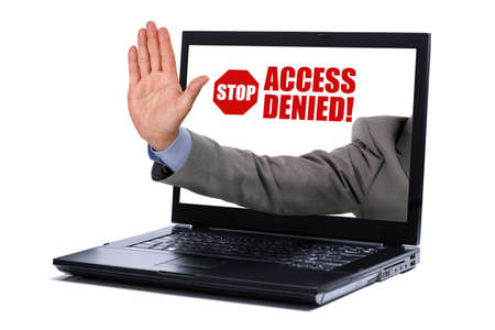 no boundaries: Stop gesture through a laptop screen concept for internet censorship and access denied