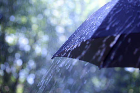 umbrella rain: Rain drops falling from a black umbrella Stock Photo
