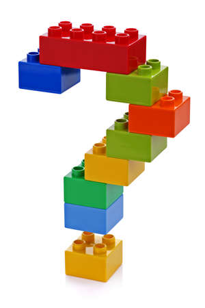 Question mark made from plastic building blocks photo