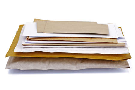 junk mail: Mail or post concept envelopes, letters,  bills and packages