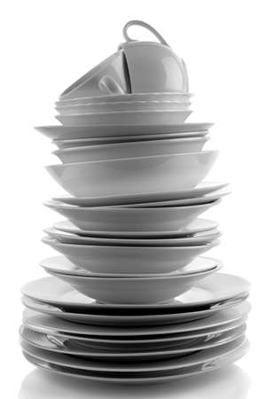 dinnerware: Stack of white plates and dishes
