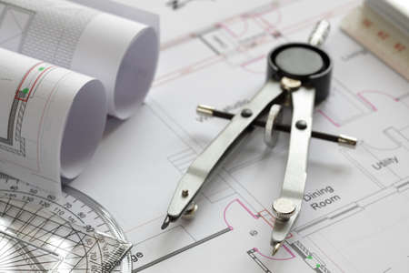 protractor: Blueprints and drawing tools concept for construction or development Stock Photo