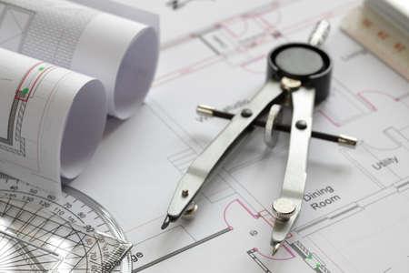compas de dibujo: Modelos y herramientas de dibujo concepto para la construcción o el desarrollo