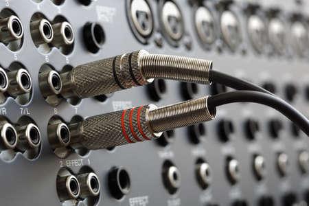 phono: Audio connectors on a sound mixer