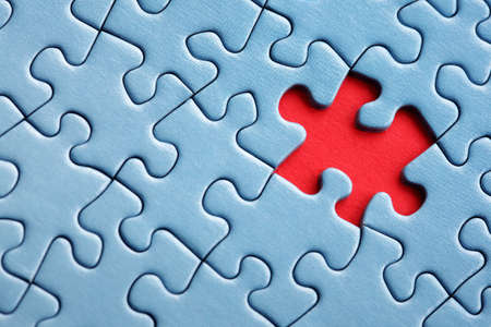 솔루션 및 완성을위한 지그 소 퍼즐 개념의 마지막 누락 된 조각