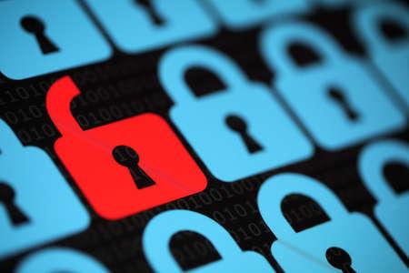 alerta: Concepto de seguridad de Internet abierta virus candado rojo o sin garantía, con la amenaza de la piratería