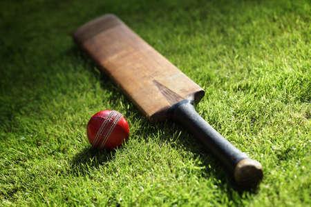 murcielago: Bate de cricket y una pelota sobre la hierba verde del campo de cricket Foto de archivo