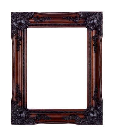 caoba: Marco de imagen aislado en blanco hecho de madera de caoba