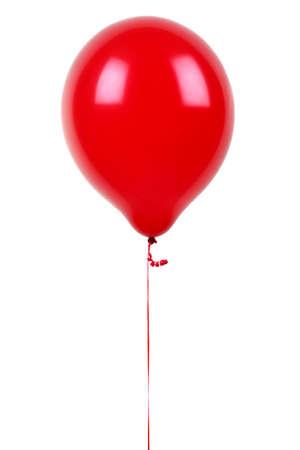 白で隔離される赤い風船