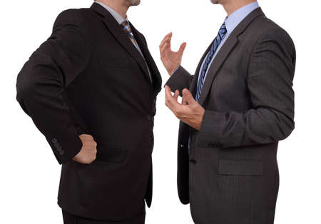persuading: Conflict in office business excutive arguing with his boss at meeting