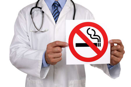 man smoking: Doctor advice holding a no smoking sign Stock Photo