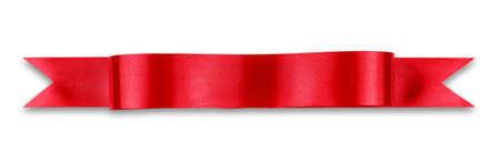 Red ribbon banner on white background Stock Photo