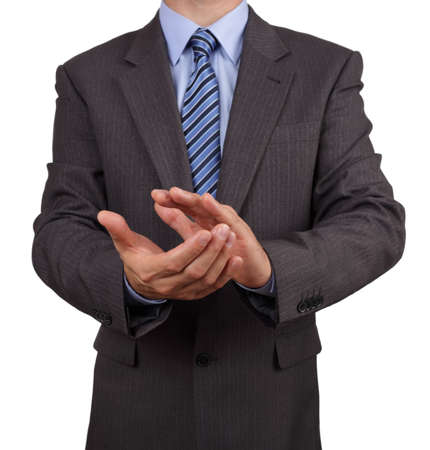 Businessman clapping his hands concept for success, congratulating, achievement or appreciation photo
