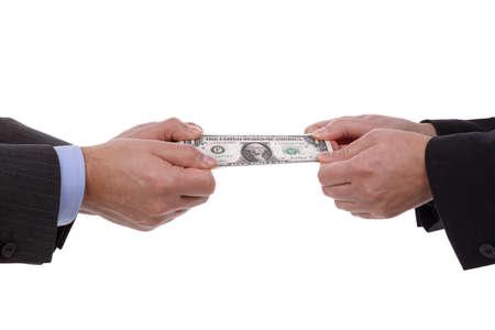ビジネスのライバル、関係の難しさまたは人と女性間の離婚の和解のための通貨綱引きコンセプト 写真素材
