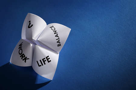 work life balance: Origami fortune teller concept for work life balance choices