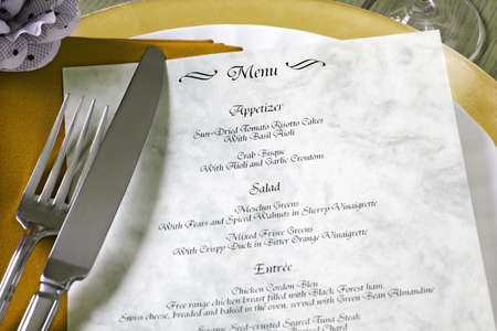 Dinner menu for a wedding or luxury evening meal - note, made up menu photo