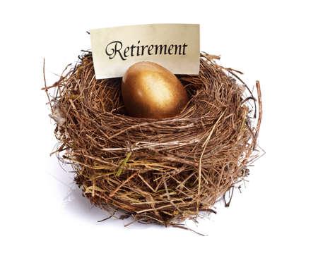 nido de pajaros: Concepto de nido de huevos de oro para los ahorros de jubilación