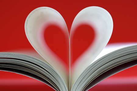 Book pages folded into heart shape on red wall photo