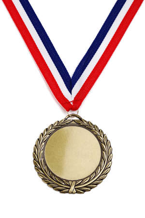 Gold medal isolated on white with blank face for text, concept for winning or success photo