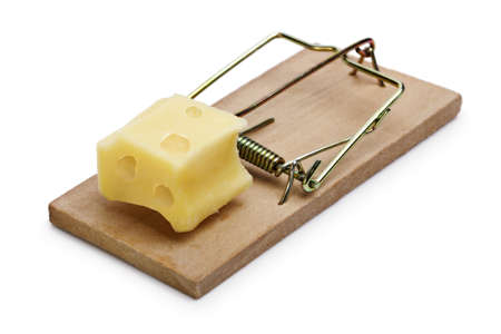 Mousetrap baited with cheese concept for risk, incentive and temptation photo