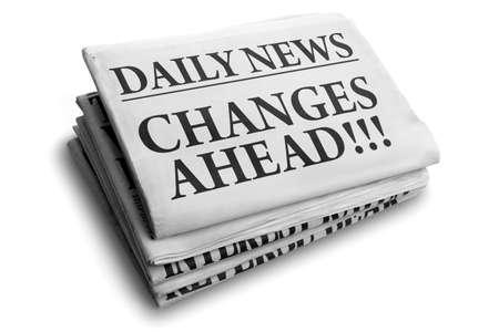 Dagelijks nieuws krantenkop lezen verandert vooruit Stockfoto
