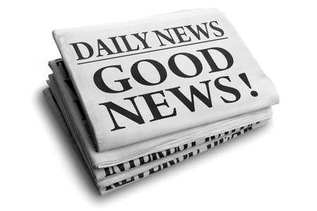 Dagelijks nieuws krantenkop lezen goed nieuws Stockfoto - 25151437
