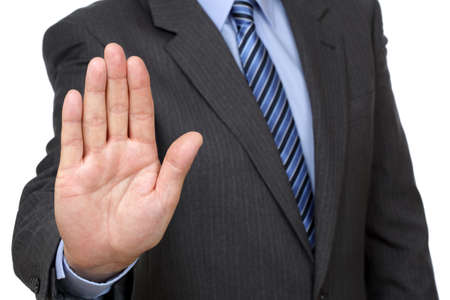 exclude: Stop gesture from businessman in suit