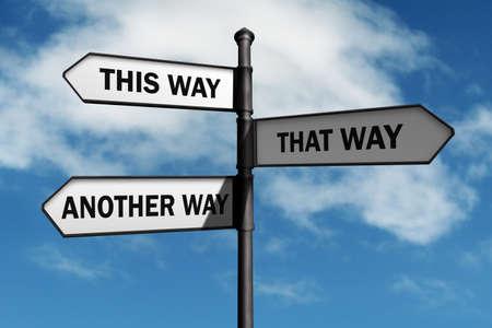 Crossroad-wegwijzer die op deze manier zegt, een ander manierconcept voor verloren, verwarring of beslissingen