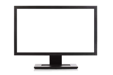 Computer monitor or Widescreen HD television isolated on white with blank screen photo