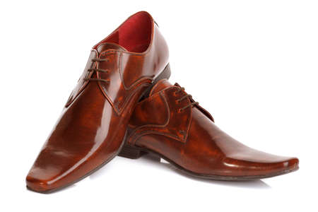 fashion shoes: Brown leather fashion shoes isolated on white