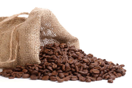 coffee sack: Overflowing coffee beans from a burlap sack