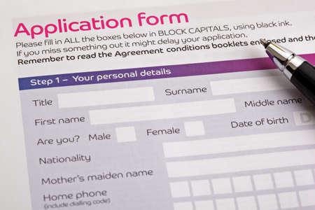 Aanvraagformulier concept voor het aanvragen van een baan, financiën, lening, hypotheek of een claimformulier