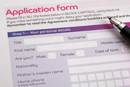personal data privacy issues: Application form concept for applying for a job, finance, loan, mortgage or a claim form