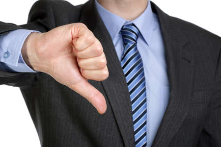 disrespect: Business failure, businessman gesturing a thumbs down in displeasure Stock Photo