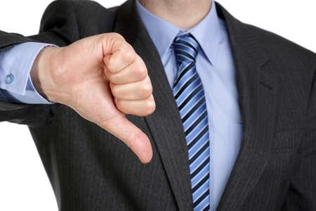 irrespeto: El fracaso empresarial, empresario señalando un pulgar hacia abajo con desagrado Foto de archivo