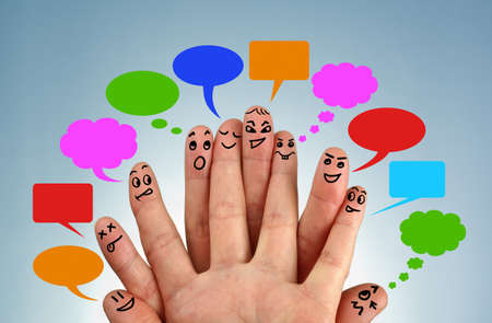 Social network family concept finger people in discussion with speech bubbles photo