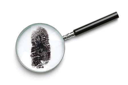 forensic science: Magnifying glass examining fingerprint isolated on white with soft shadow concept for crime or forensic science