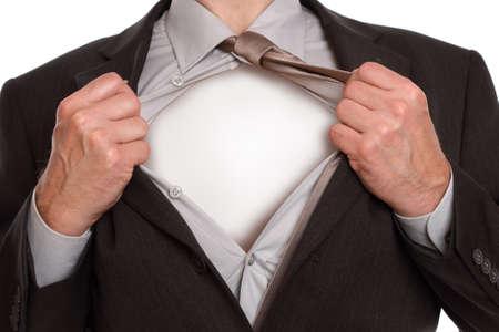 비즈니스맨: 고전적인 슈퍼맨의 사업가 가슴에 빈 공간을 복사 공개를 엽니 다 그의 셔츠를 찢어 포즈 스톡 사진