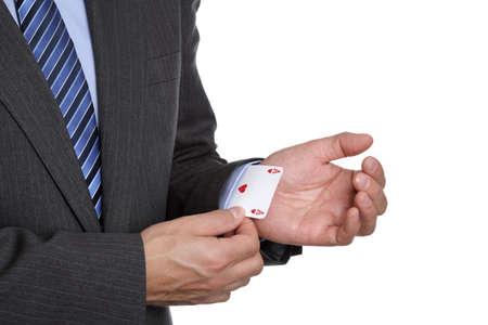 jeu de cartes: Les �nonciations d'affaires as dans sa manche tour de magie ou de tricherie dans le jeu de cartes