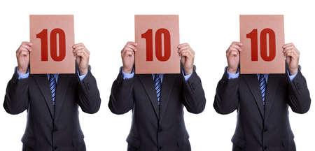 Perfecte score uit een panel van 3 zakenman rechters Stockfoto