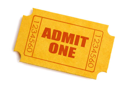 admit one: Generic yellow admission ticket isolated on white  Stock Photo