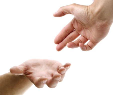Hand reaching for assistance, support or friendship Stock Photo