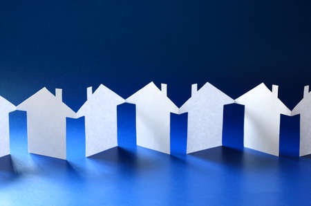 neighborhood: Paper chain neighborhood, row of cut out houses